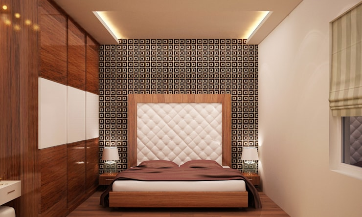 Kharvelanagar House, Bhubaneswar:  Bedroom by Schaffen Amenities Private Limited,Modern