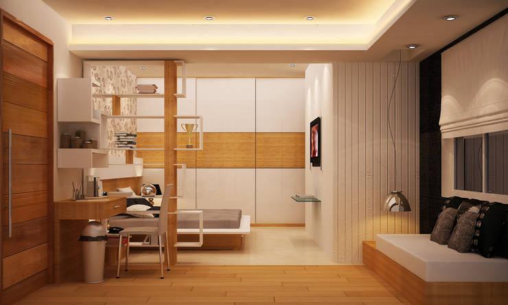 Kharvelanagar House, Bhubaneswar: modern Bedroom by Schaffen Amenities Private Limited