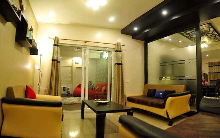 3BHK Royal Heritage, Bhubaneswar:  Living room by Schaffen Amenities Private Limited,Modern