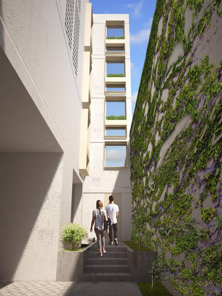 Vista de acceso: Pasillos y recibidores de estilo  por HMJ Arquitectura, Minimalista