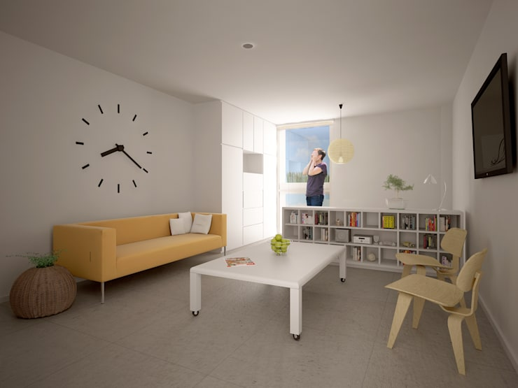 Departamento tipo Estudio: Salas de estilo  por HMJ Arquitectura, Minimalista