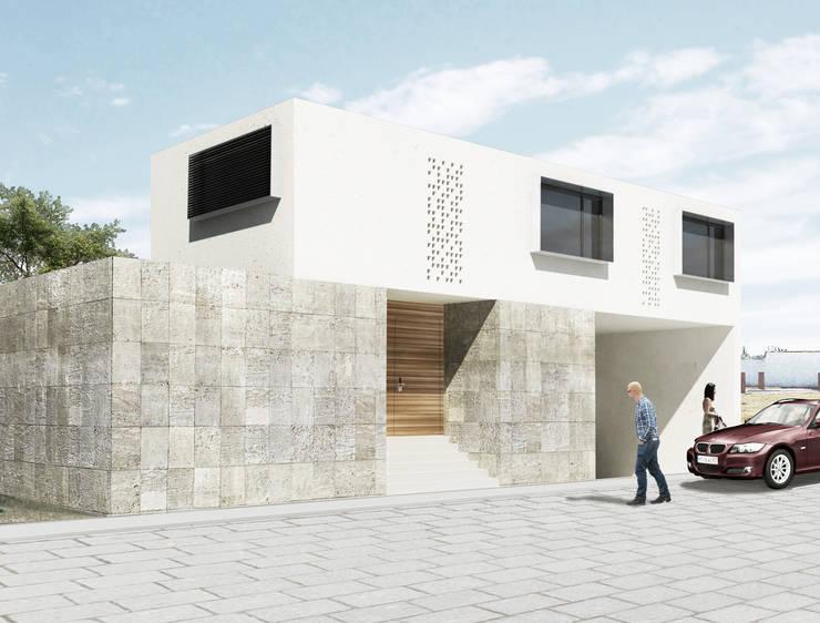 Vista exterior: Casas de estilo  por HMJ Arquitectura, Minimalista