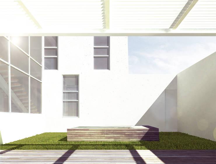 Terraza y jardin : Terrazas de estilo  por HMJ Arquitectura, Minimalista