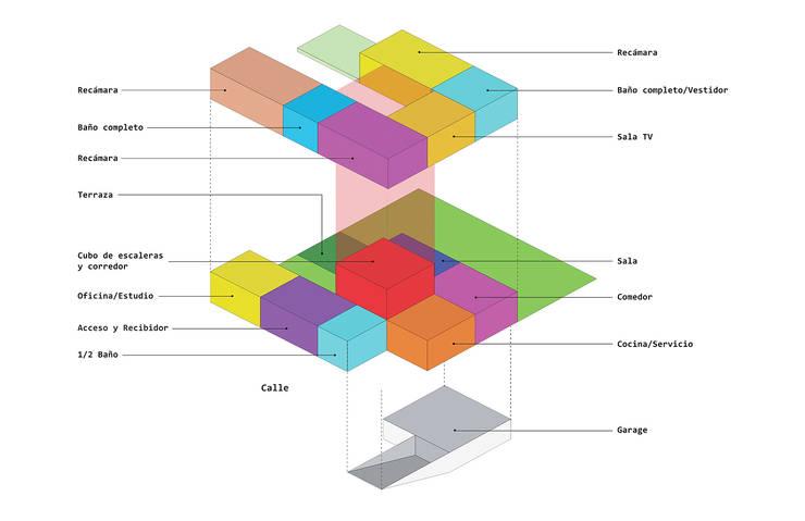 Esquema de distribución: Casas de estilo  por HMJ Arquitectura, Minimalista