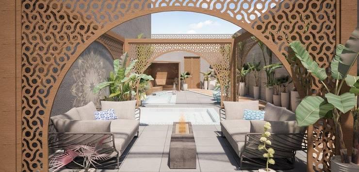 Exterior Spa: Spa de estilo  por HMJ Arquitectura, Ecléctico