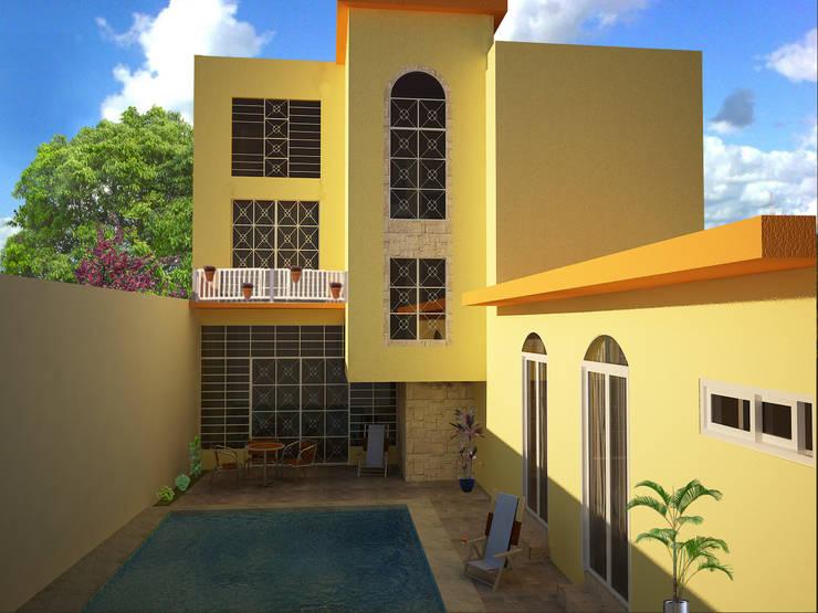 perspectiva: Casas de estilo  por Ecourbanismo, Clásico Concreto