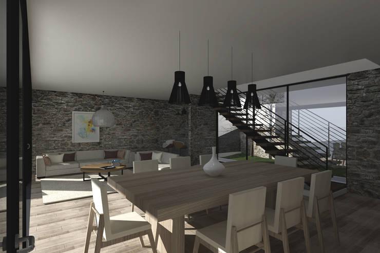 Comedor - Sala: Comedores de estilo  por Bloque Arquitectónico, Moderno