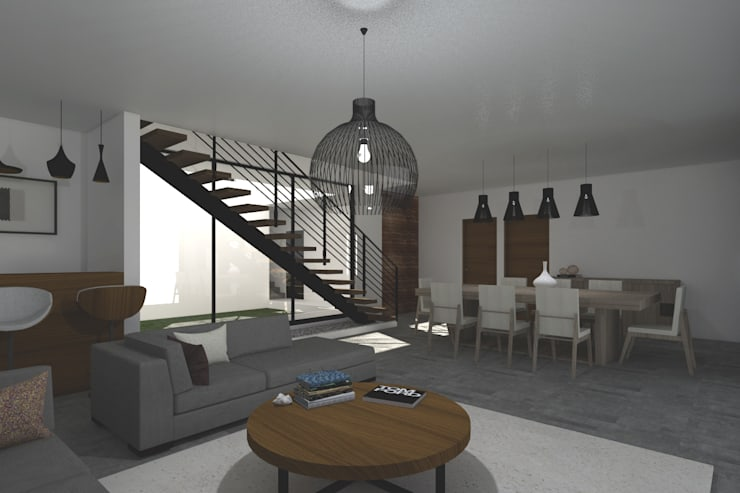 Sala - Comedor: Salas de estilo  por Bloque Arquitectónico, Moderno