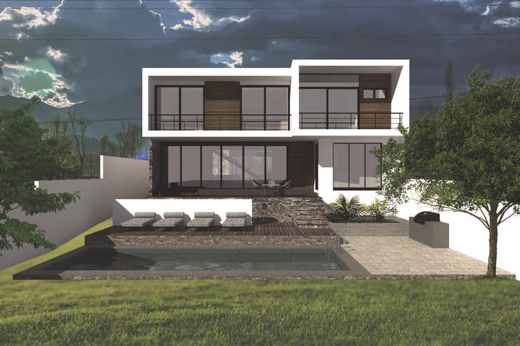 Jardín y fachada : Casas de estilo  por Bloque Arquitectónico, Moderno