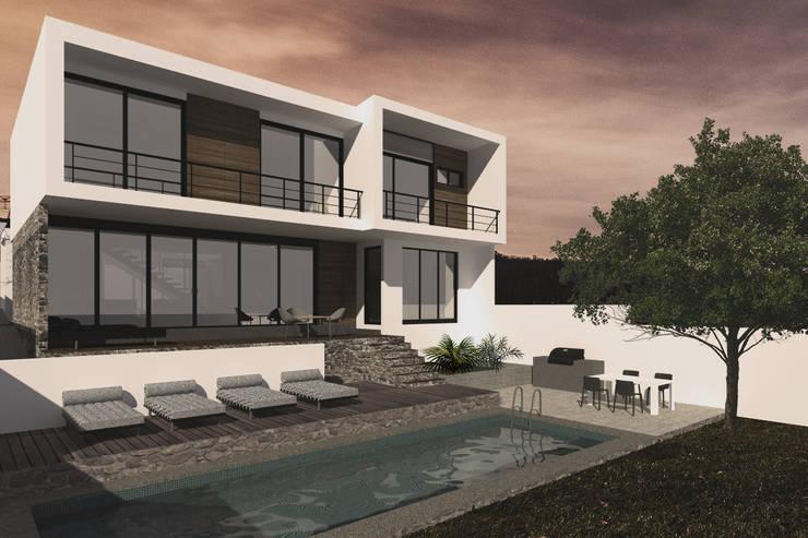 Jardín trasero : Casas de estilo  por Bloque Arquitectónico, Moderno