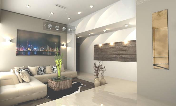 CORREDOR PRINCIPAL: Salas de estilo  por OLLIN ARQUITECTURA , Moderno Madera Acabado en madera