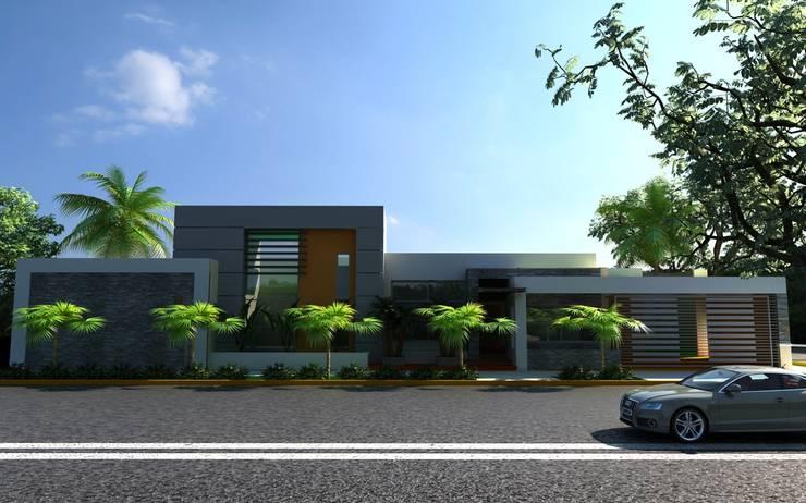 FACHADA DE RESIDENCIA: Casas de estilo  por OLLIN ARQUITECTURA , Moderno Concreto