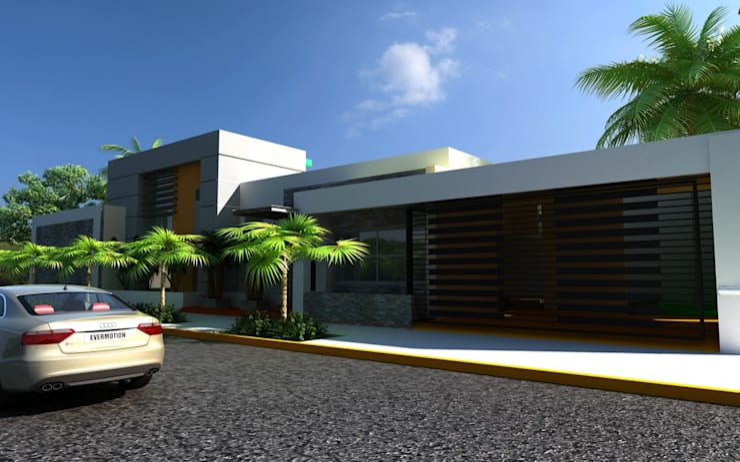 FACHADA RESIDENCIA: Casas de estilo  por OLLIN ARQUITECTURA , Moderno Concreto
