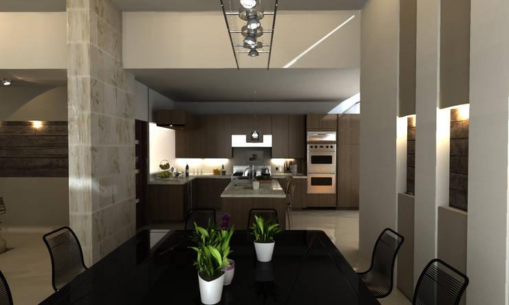 COCINA : Cocinas de estilo  por OLLIN ARQUITECTURA , Moderno Madera Acabado en madera