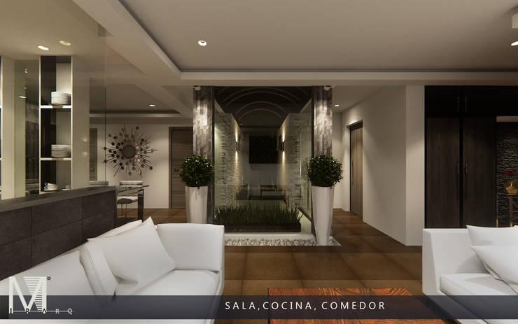 PROYECCIÓN 3D DE ESPACIO SALA COCINA Y COMEDOR (VISTA NOCTURNA).: Salas de estilo  por MIRARQ-CONSTRUCCIÓN