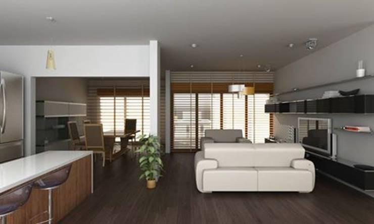 PENTHOUSE: Salas de estilo  por OLLIN ARQUITECTURA , Moderno Madera Acabado en madera