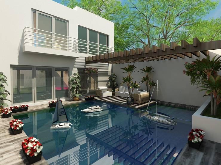 ALBERCA: Albercas de estilo  por OLLIN ARQUITECTURA , Moderno Concreto