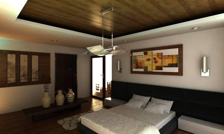 RECAMARA PRINCIPAL: Recámaras de estilo  por OLLIN ARQUITECTURA , Moderno Madera Acabado en madera