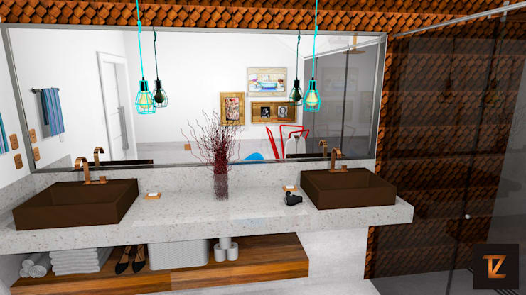 Salle de bain moderne par Thiago Zuza Design de interiores Moderne Cuivre / Bronze / Laiton