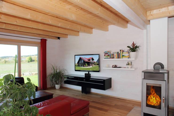 Гостиная в . Автор – RO-REI Holzhaus GmbH & Co.KG