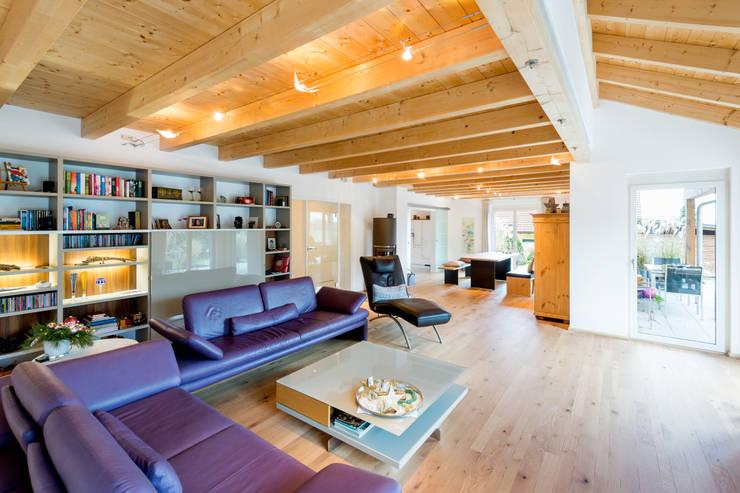 Projekty,  Salon zaprojektowane przez RO-REI Holzhaus GmbH & Co.KG