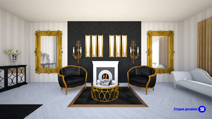 Living Room in Art-Deco style​:  Living room by 'Design studio S-8'