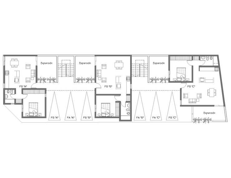 Complejo MF: Casas de estilo  por Gastón Blanco Arquitecto,