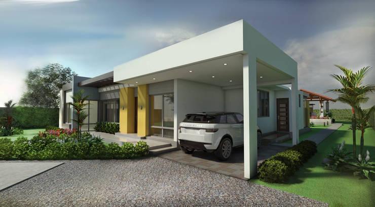 Fachada principal - Garaje: Garajes de estilo  por Arquitecto Pablo Restrepo