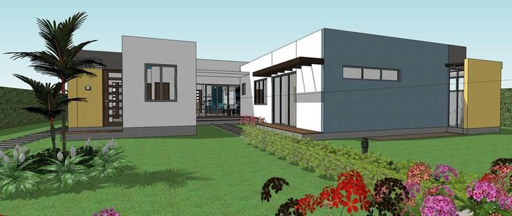 Fachada posterior - salida al Kiosco y piscina: Casas de estilo  por Arquitecto Pablo Restrepo