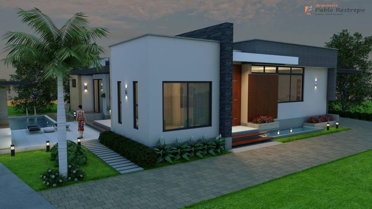 Fachada Principal: Casas de estilo  por Arquitecto Pablo Restrepo,