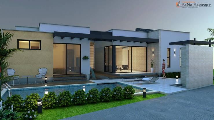 Fachada lateral izquierda - zona humeda: Casas de estilo  por Arquitecto Pablo Restrepo,