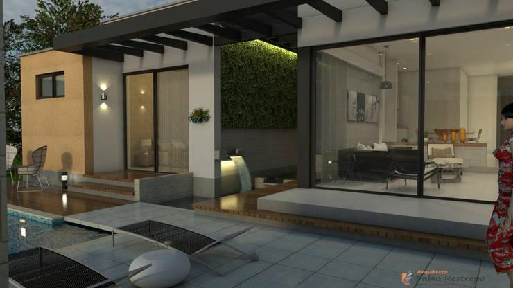 Zona húmeda - ambiente social: Paredes de estilo  por Arquitecto Pablo Restrepo,