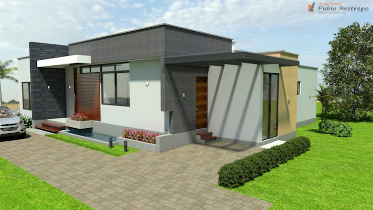 Fachada principal - Garaje: Garajes de estilo  por Arquitecto Pablo Restrepo,