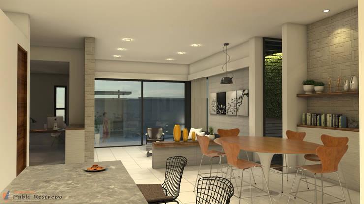 Diseño interior - sala comedor: Salas de estilo  por Arquitecto Pablo Restrepo,