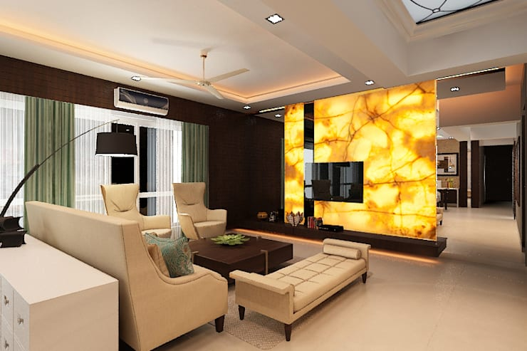Entertainment wall: classic Living room by Neelanjan Gupto Design Co