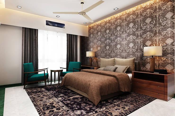 غرفة نوم تنفيذ Neelanjan Gupto Design Co