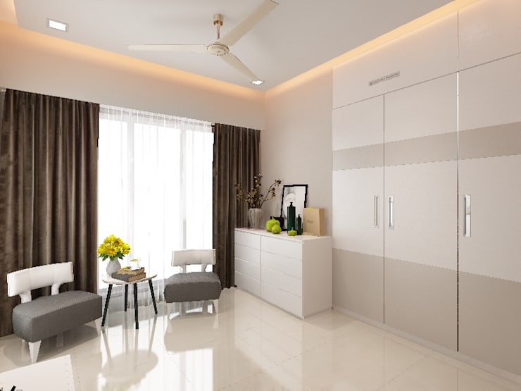 walkin wardrobe:  Bedroom by Neelanjan Gupto Design Co