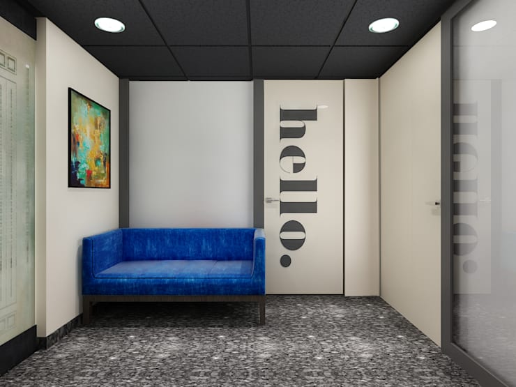 waiting area:  Study/office by Neelanjan Gupto Design Co
