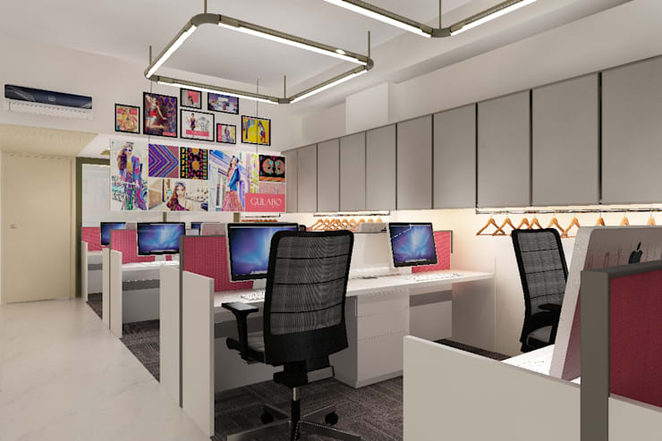 workstation area:  Study/office by Neelanjan Gupto Design Co
