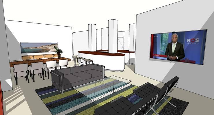 Interieur Woning 2:  Woonkamer door architectuurstudio Kristel