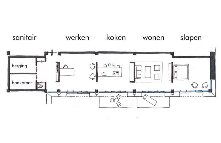 Plattegrond Woning-1:   door architectuurstudio Kristel