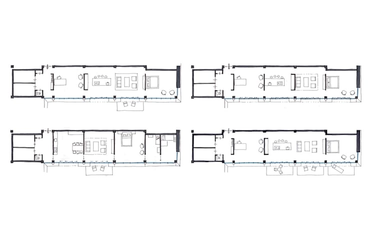 Variant indelingen woning 1:   door architectuurstudio Kristel