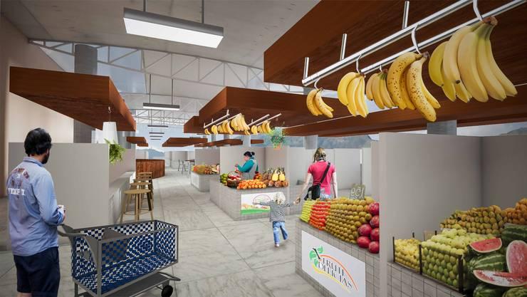 Mercado en Terraza de Centro Comercial: Espacios comerciales de estilo  por Arq. Gustavo García