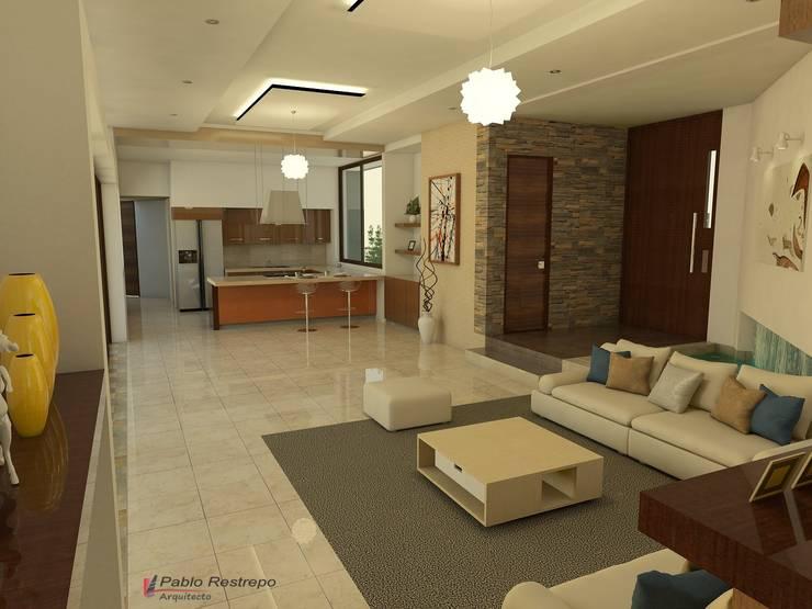 Diseño interior - sala, comedor y cocina Salas modernas de Arquitecto Pablo Restrepo Moderno