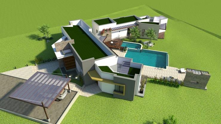 Persperctiva aérea, cubiertas Casas modernas de Arquitecto Pablo Restrepo Moderno