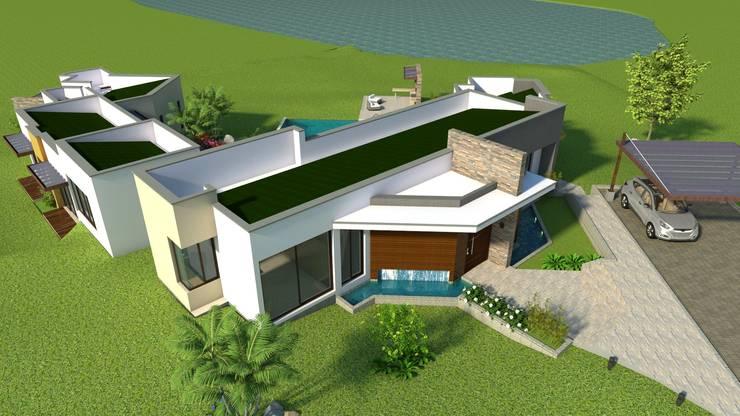 Perspectiva aérea - fachada principal Casas modernas de Arquitecto Pablo Restrepo Moderno