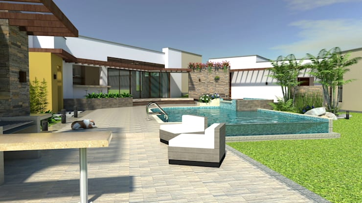 Albercas de estilo  por Arquitecto Pablo Restrepo