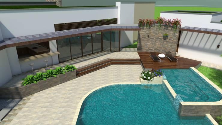 Piscina, terrazas y pergolas Casas modernas de Arquitecto Pablo Restrepo Moderno