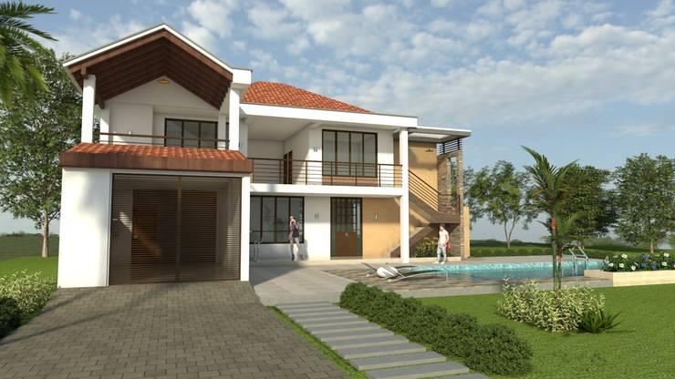 Fachada Principal - Acceso vehicular: Casas de estilo  por Arquitecto Pablo Restrepo