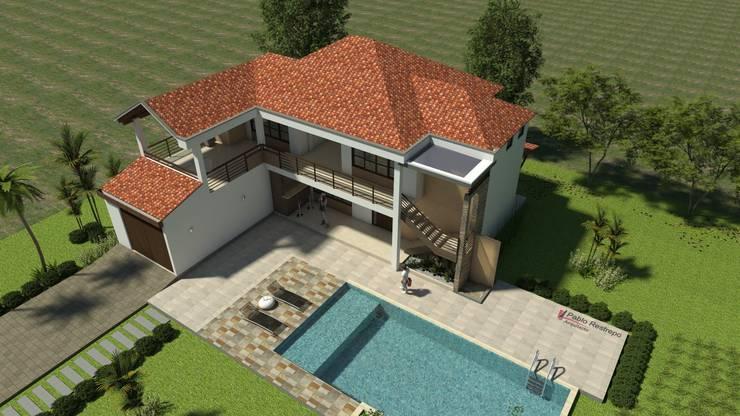 Perspectiva aérea general: Casas de estilo  por Arquitecto Pablo Restrepo